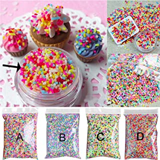 Kangkang 100g DIY Polymer Clay Colorful Fake Candy Sweets Sugar Sprinkles Decorations for Fake Cake Dessert Simulation Food Dollhouse Style (D)