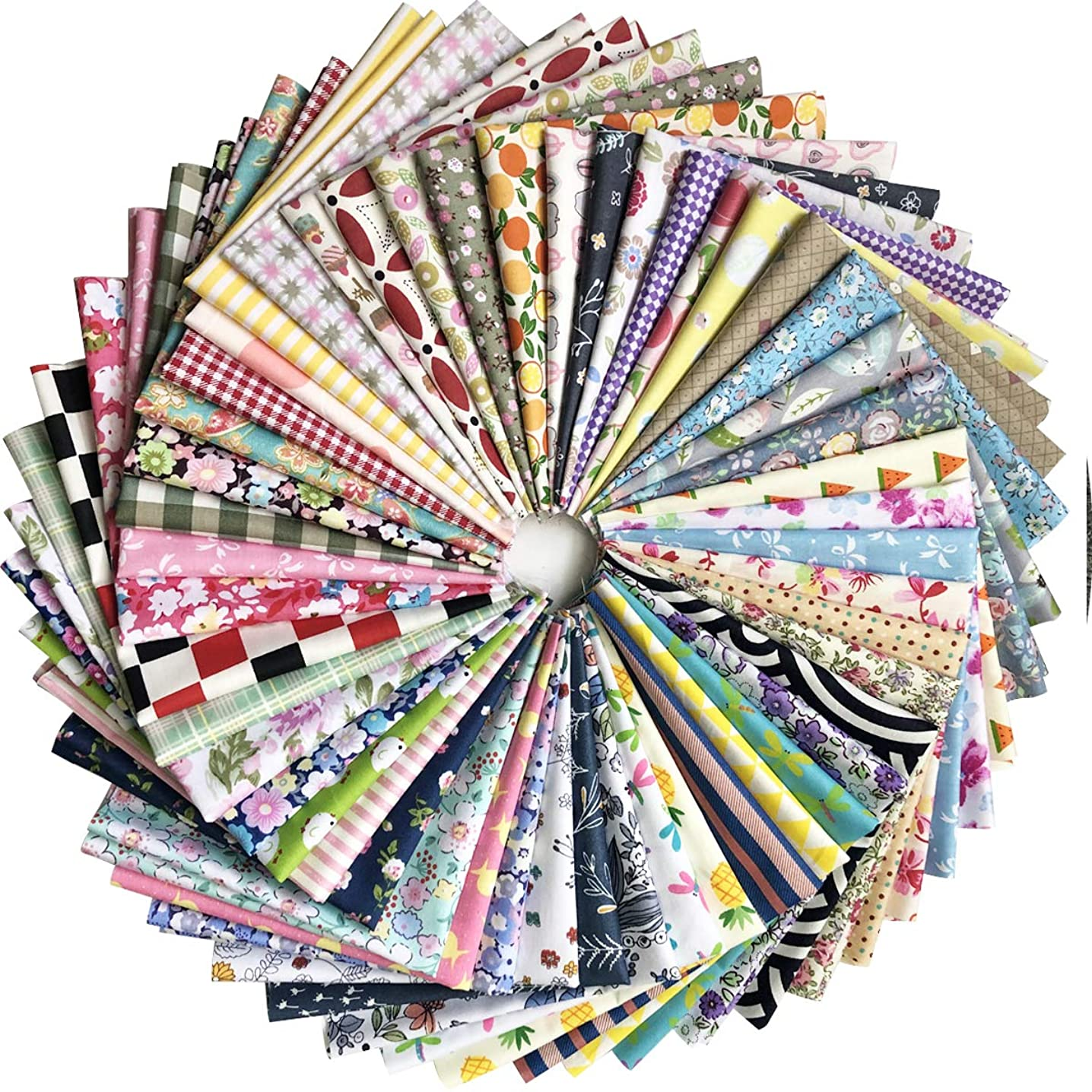"levylisa Pre Cut Assorted Printed Cotton Fabric Patchwork Fabric Quarter Bundle Patchwork Quilting Fabric Sets Sewing Fabric Patchwork Flower Dots DIY Quilting Handmade Craft 11.8"" x 11.8"""