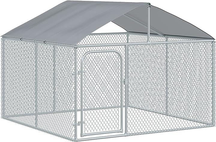Gabbia per cani con copertura impermeabile e anti uv, con serratura, per esterni pawhut ampio recinto ITD02-0380631