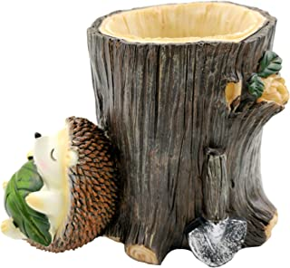 M2cbridge Resin Animal Pencil Holder Hedgehog Desk Organizer Decoration Succulent Pot (Green Leaf)