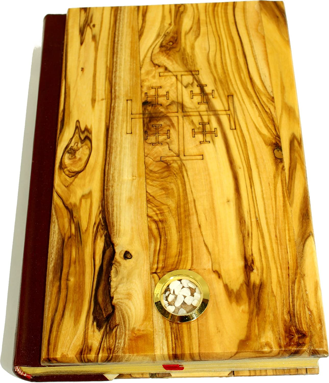 Holy Land Market Olive Wood Covered Millennium Bible with 'Jerusalem Stones'  Red-Letter King James Version of The Old and The New Testament (Large - 8 x 5.5 Inches)