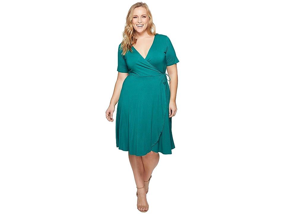 KARI LYN Plus Size Allison Faux Wrap Dress (Emerald) Women