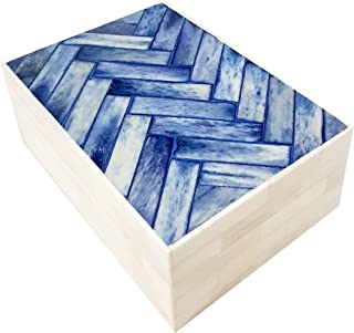 Collectibles Buy Handmade Jewelry/Storage Keepsake Decorative Box with Bone Inlay Chevron Mosaic Pattern