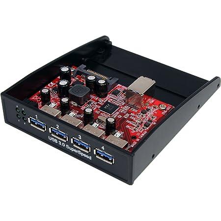 StarTech.com USB 3.0 Front Panel 4 Port Hub - 3.5in or 5.25in Bay - Front Internal 3.5 USB 3 Hub (35BAYUSB3S4), Black