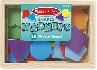 Melissa & Doug 25 Wooden Shape and Color Magnets in a Box