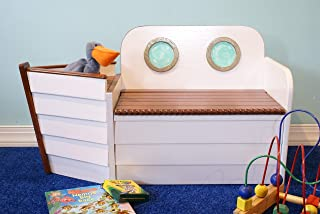 Boat Shaped Wooden Toy Box, Nautical Decor Chest, Toy Storage