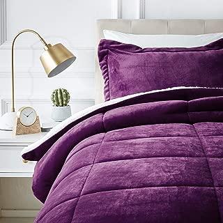 AmazonBasics Ultra-Soft Micromink Sherpa Comforter Bed Set - Twin, Plum