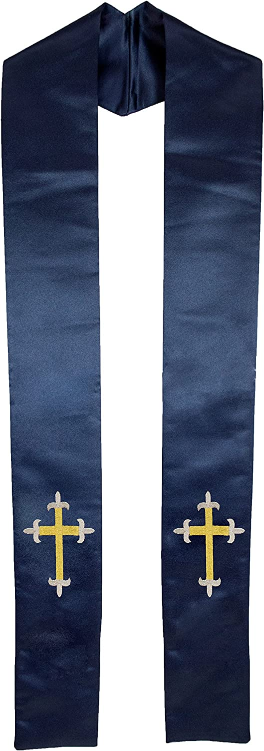 Deluxe Satin Clergy Stole with Embroidered Tripoint Cross
