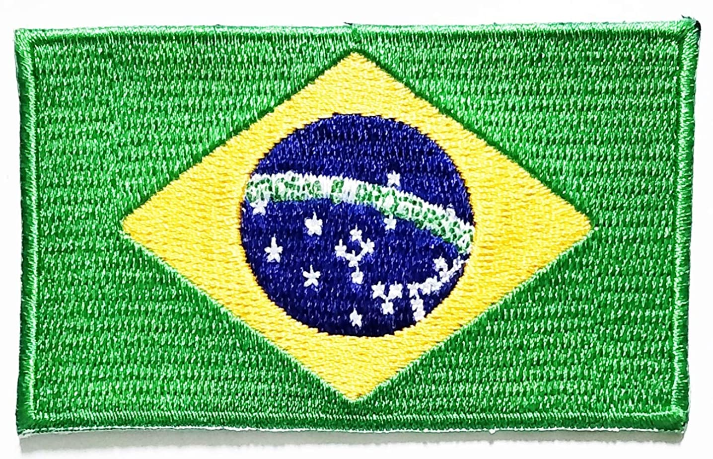 Nipitshop Patches Brazil Flag Embroidered Patch National Emblem Iron On Sew On Patch Embroidery Iron On Flag Appliques for Craft Sewing Clothing