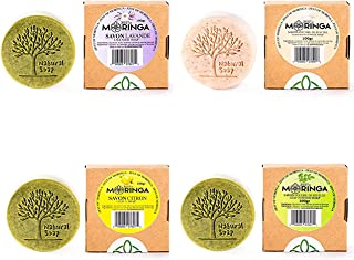 Moringa Soap Set (4)- 100% Pure Raw Natural Moringa Extract- Amazing Cleansers for Acne and Pimples - Natural Exfoliating ...