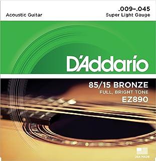 D'Addario EZ890 Cordes en bronze pour guitare acoustique 85/15 Super Light 9-45