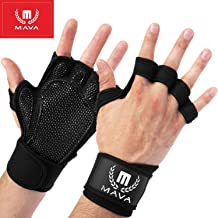 Mava Sports Ventilated Workout Gloves with Integrated Wrist Wraps and Full Palm Silicone..