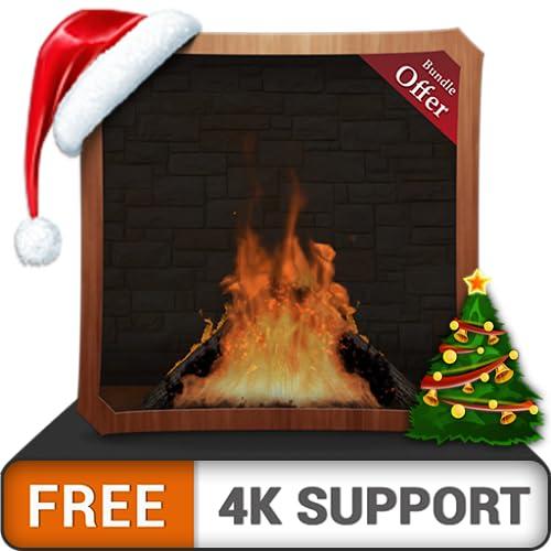 registro de fuego romántico gratis HD: disfrute de la chimenea en las...