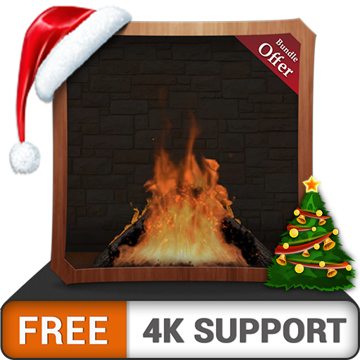 registro del fuoco romantico gratuito HD - goditi il camino durante le vacanze di Natale rinfrescate in...