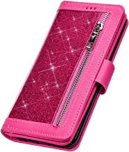 PHEZEN Case for Samsung Galaxy A20 / A30 Wallet Case,Sparkle Bling Glitter PU Leather Magnetic Flip Folio Protective Case Multi-Function 9 Credit Card Holders with Zipper Coins Purse Cover,Red
