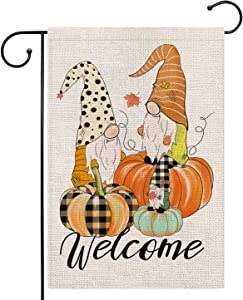 welcome gnome fall pumpkin garden flag 12.5x18 Inch small double sided burlap flags for outside Buffalo Check Plaid outdoor seasonal decor for yard