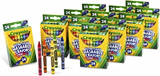 Crayola 24 支裝超凈可水洗蠟筆,12 包 24 支裝的蠟筆;具有明快顏色的美術工具,適用于學校和家庭繪畫