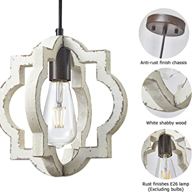 Fabulis 1-Light Farmhouse Orb Chandelier, Hand-Painted Distressed Wood Hanging Island Light Fixture for Dining Foyer Entryway