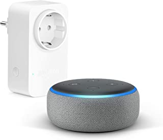 comprar comparacion Echo Dot (3.ª generación), Tela de color gris oscuro + Amazon Smart Plug (enchufe inteligente wifi), compatible con Alexa