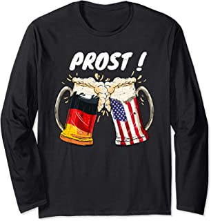 Prost Beer German American Flag Oktoberfest Mug For Men Long Sleeve T-Shirt