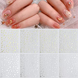 8 Sheets Stars Moon Nail Art Stickers 3D Metallic Self-Adhesive Gold Silver Geometry Star Moon Planet Nail Decals for Acry...