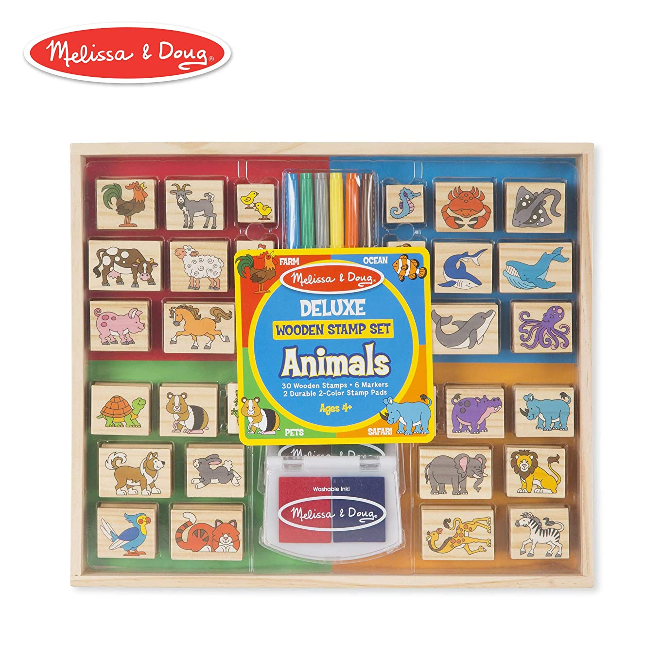 Melissa & Doug Deluxe Wooden Stamp Set, Animal Stamps (Colored Washable Ink Pads, Develops Hand-Eye Coordination, 38 Pieces)