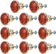 Angoily 10 Sets Kristallen Ladeknoppen Roestvrij Staal Glas Dressoir Trekt Kast Handvat Voor Thuis Keuken Garderobekast Rood