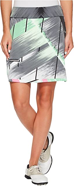 Skinnylicious Ginza Print Side Zip and Button 18 in. Skort