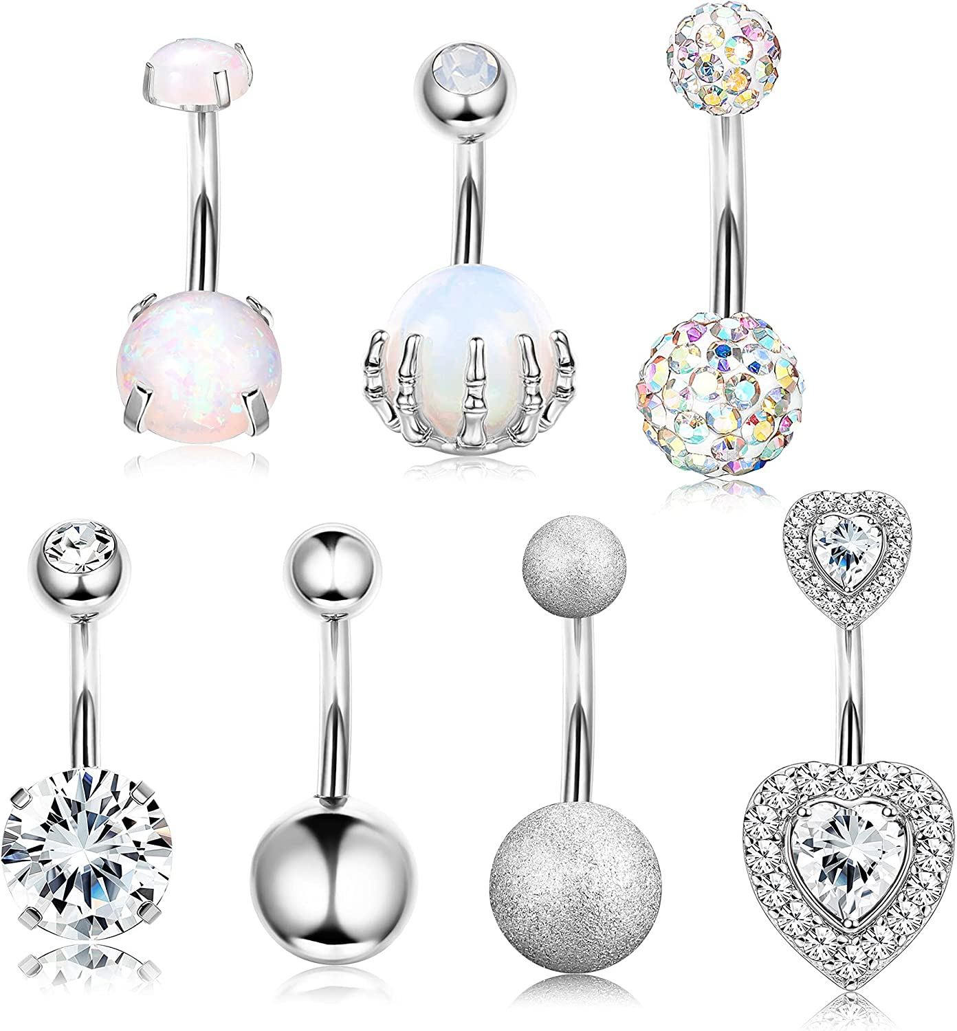 DOLOTTA 7 Pcs 14G 316L Stainless Steel Belly Button Rings for Women Surgical Steel Round CZ Heart Opal Belly Button Piercing Jewelry Curved Navel Ring