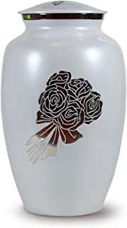 Classico Memorials - Cremation Funeral Urn for Human Ashes - White with Roses - Suitable for Burial (Bouquet)