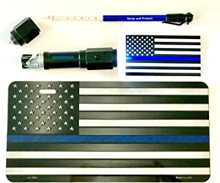 Thin Blue Line (TBL) Car Safety and Support Bundle with LED Emergency Tactical Flashlight and Escape Tool, Tire Pressure Gauge, American Flag License Plate, and Blue Stripe Flag Sticker