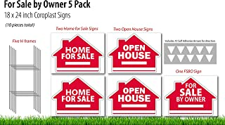 Open House (2), for Sale by Owner (1), Home for Sale (2) Real Estate Signs 5 Pack -18 x 24 inch Yard Sign Kit - 5 H-Stakes - 10 Vinyl Arrow Stickers - 5 Double Sided Coroplast Yard Signs - 3 Designs