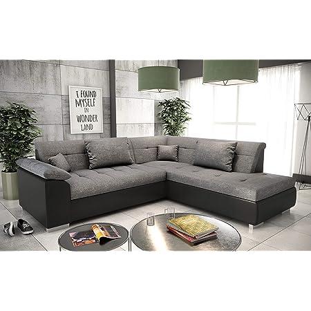 tendencio Canapé d'angle Convertible en lit LITO - Assise en Tissu Gris et Contour en Simili Cuir Noir