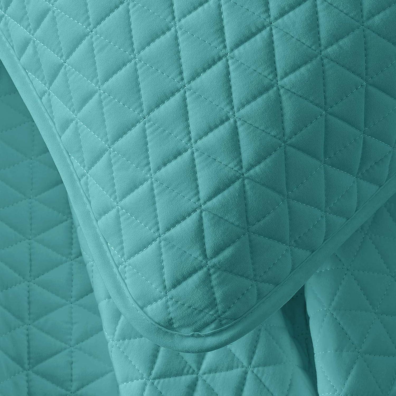 1 Quilt, 1 Pillow Sham, Baby Blue Twin Quilt Set Bedspread VEEYOO Quilt Set Coverlet Twin Soft Microfiber Lightweight Coverlet Quilt for All Season
