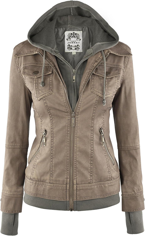 Made By Johnny WJC664 Womens Faux Leather Jacket with Hoodie XXL Khaki