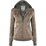 Made By Johnny MBJ Womens Faux... Made By Johnny MBJ Womens Faux Leather Motorcycle Jacket with Hoodie