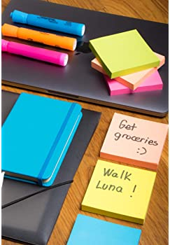 Sticky Notes 3x3, Bright Colorful Stickies, 12 Pads 1200 Sheets Total, Strong Self-Stick Notes, 6 Colors (Yellow, Gre...