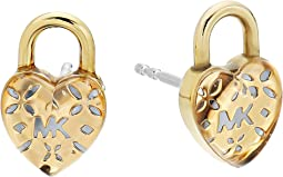 Love Logo Heart Lock Stud Earrings