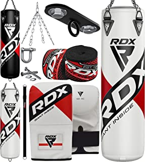 RDX 8PC Punching Bag 5ft 4ft Heavy Filled Set, Non Tear Maya Hide Leather Adult Bag with Ceiling Hook Punch Gloves Chain A...