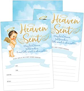 Heaven Sent Boy Baby Shower Invitation, Cute Clouds and Celestial Angel Baby Shower Invite, Twinkle Twinkle Little SAR, 20 Fill in Invitations and Envelopes