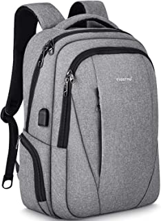 Tigernu Travel Laptop Backpack Business Slim Anti-theft Backpacks with USB Charging Port Water Resistant College School Computer Bag for Men Women Fit Under 15.6 inch Notebook/Macbook,Grey