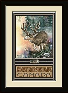 لوحة حائط فنية بإطار Northwest Art Mall BA-6233 FGDM APP Mount Robson Canada Elk من الفنان Dave Bartholet، 40.64 × 55.88 سم