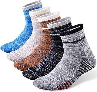 FEIDEER Men's Walking Hiking Socks,  Moisture Wicking Cushion Outdoor Crew Socks for Men,  5-Pack,  Mid-Weight,  All-Season
