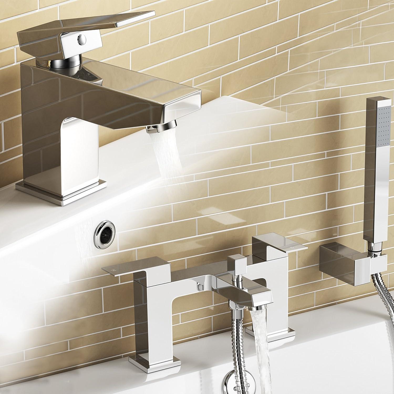 IBathUK   Chrome Basin Sink Mixer Tap + Bath Filler Hand Held Shower Head Set TP32081