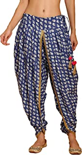 NIKA Women's Cotton Blue Printed Dhoti Salwar by Kaanchie Nanggia