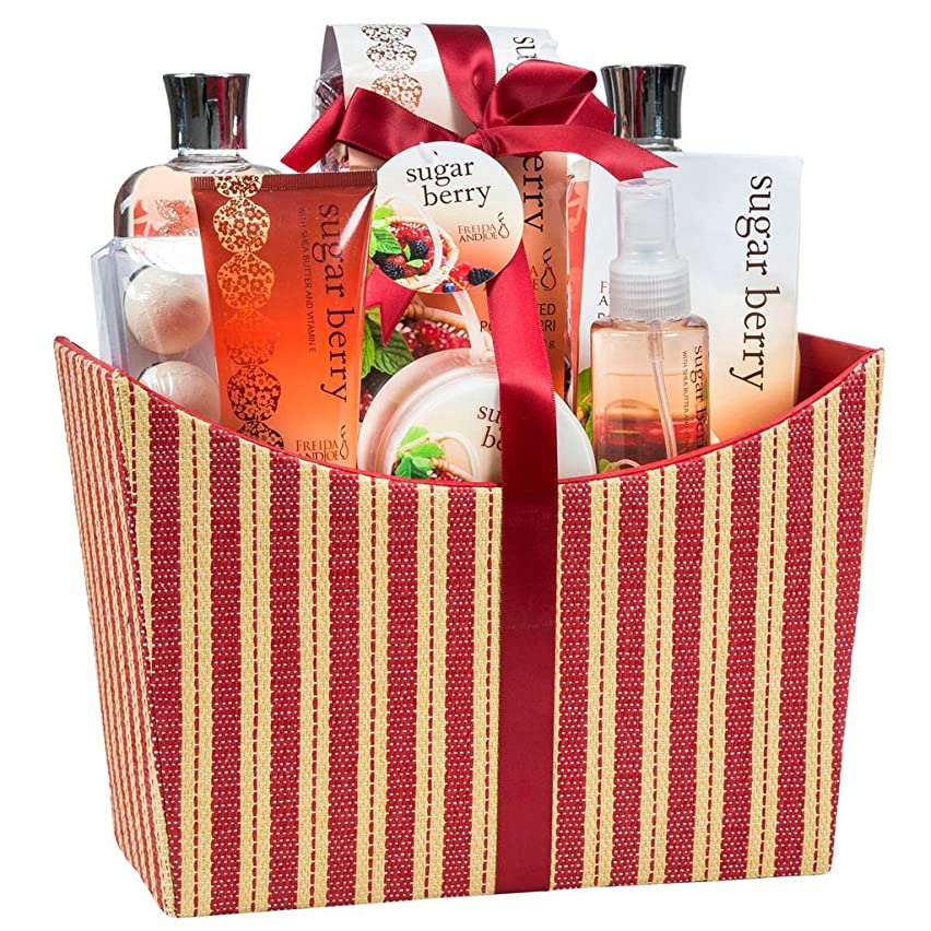 Bath and Body Spa Gift Set Basket for Women in Sugar Berry Fragrance by Freida and Joe, Includes a Body Lotion, Shower Gel, Body butter, Bath Bombs and more in Red or Tan Tapestry Box