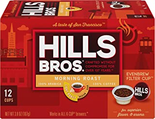 Hills Bros Single Serve Coffee Pods, Morning Light Roast - 100% Premium Arabica Coffee - Compatible with Keurig K-Cup Brewers (12 Count)