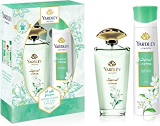 Yardley Imperial Jasmine perfumed gift set, Floral scent with Jasmine and orange blossom fragrance, Eau De Toilette 125ml + Body Spray 150ml