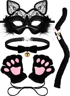 SATINIOR Masquerade Cat Mask Women Kitten Costume for Halloween Bell Choker Cat Paw Tail