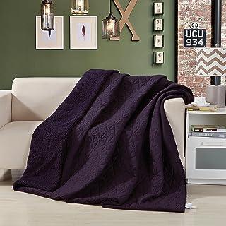 DaDa Bedding Eggplant Aubergine Throw Quilt, Twin, Purple